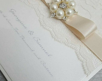 Ivory white cream wedding invitation, reception invitation, ribbon and lace invitation, Pearl wedding invitation Wedding Card Invitation,