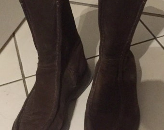 Brown suede boots, brand Monderer, vintage 80s, size 39, size 6.5
