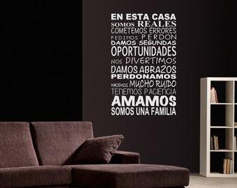 En Esta Casa Wall Vinyl Decal Spanish Quote
