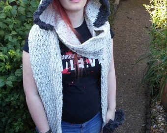 Handmade cosy chunky hooded scarf with pockets