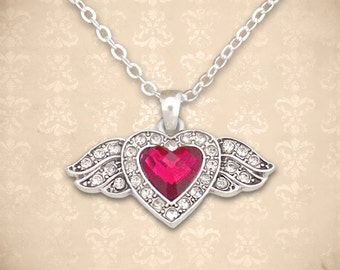 Small Winged Heart Necklace - 51082