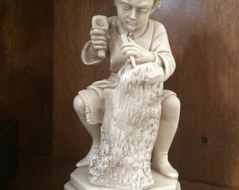 RARE G. Ruggeri Boy Carver Figurine Sculpture Made In Italy, Foil Sticker