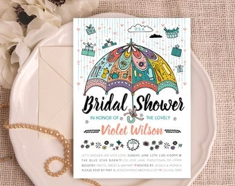will you be my bridesmaid card bridal shower raindrops umbrella invitation diy vintage
