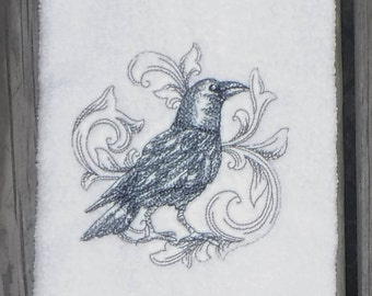 Crow bath Towel - Baroque Black Crow guest hand towel - Halloween crow hand towel - Crow bathroom - Halloween decor
