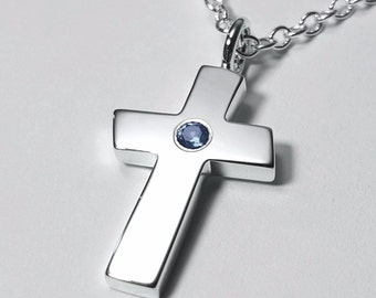 Large Blue Topaz Cross Pendant, Sterling Silver Cross Necklace, Large Blue Topaz Cross Necklace, Sterling Silver Cross Pendant, Silver Cross