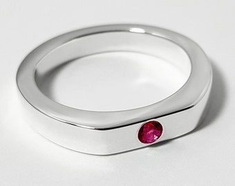 Simple Ruby Ring In Sterling Silver - Sterling Silver Ruby Ring, Sterling Ruby Ring, Red Ring, Pink Ring, July Birthstone, Red Stone Ring