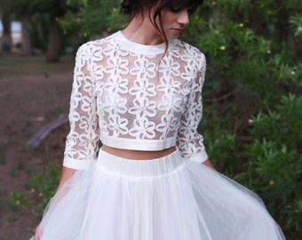 As seen on *E! News & Access Hollywood* - Lace crop top and high-waist, full tulle bridal skirt
