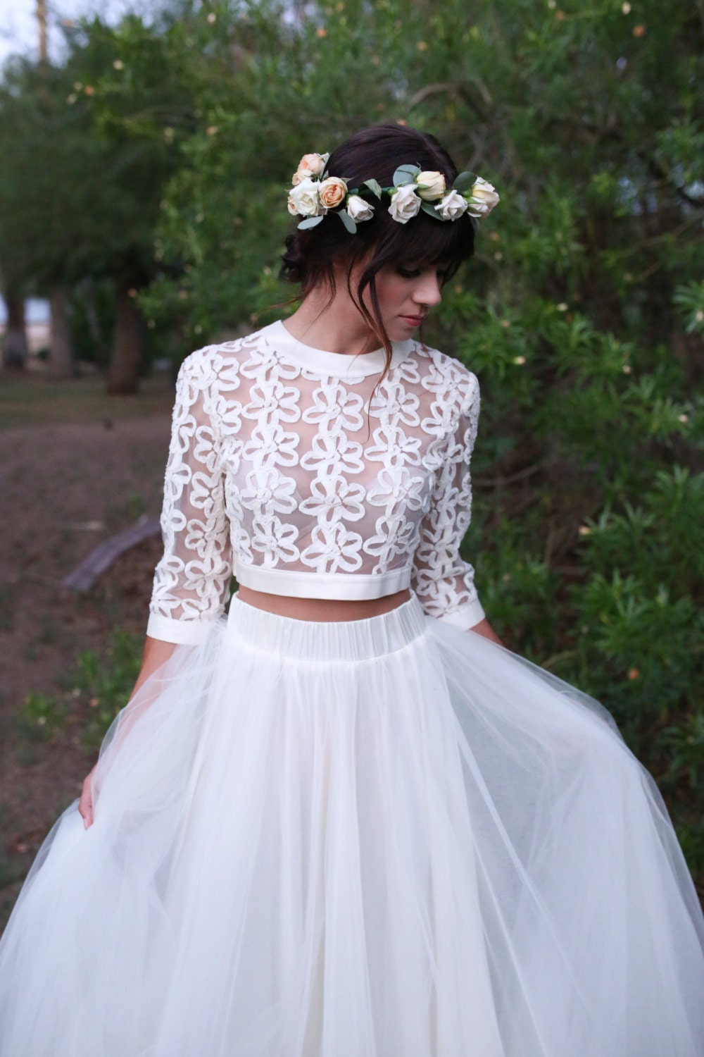 As seen on e news access hollywood lace crop top and for Wedding dress skirt and top