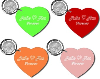 Personalized Heart Acrylic Mirror keychain - key ring