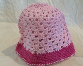 Light Pink and Hot Pink Crochet Bucket Hat