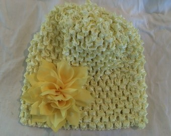 Light Yellow Stretchy Crochet Hat with Sunshine Yellow Lotus Flower