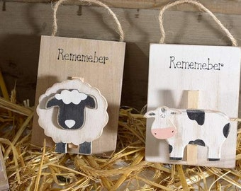 Memo Holder Wooden Sheep or Cow