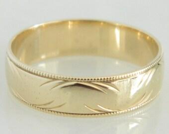 Vintage 10K Gold Textured Wedding Band size 6.75