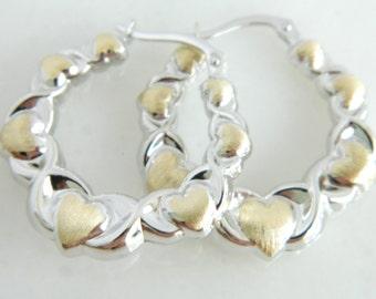Beautiful 14K White & Yellow Gold Heart Earrings