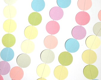 Confetti rainbow garland party baby shower decoration 2m (7ft) pastel rainbow / photo prop confetti garland string / party decorations