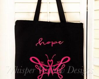 Breast Cancer Tote Bag - Hope - Pink Ribbon - Breast Cancer Awareness