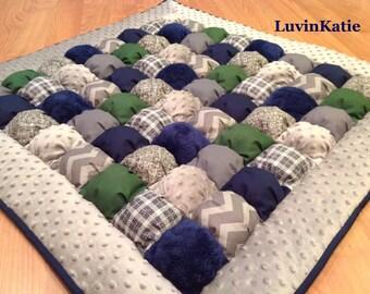 Purple gray baby bubble quilt puff quilt biscuit quilt bubble for Floor quilt for babies