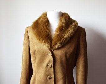 1990s Jacques Vert faux fur collar jacket • brown cropped jacket • detachable collar jacket • UK14 US12 EU42 jacket • vintage spring jacket