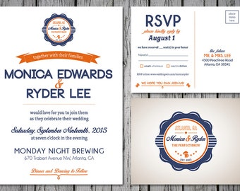 Brewery Themed Printable Wedding Invitation, Navy and Orange, Custom Colors, Digital File, DIY