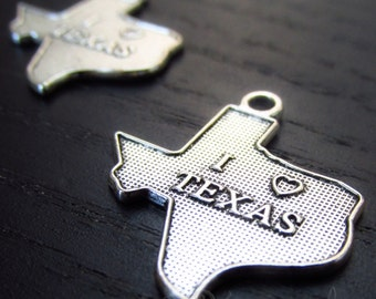 I Love Texas Charms - 10/20/50 Wholesale Texas State Silhouette Antiqued Silver Plated Pendant Findings C8601