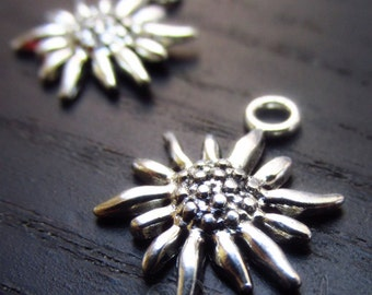 Edelweiss Flower Charms - 5/10/20 Wholesale Antiqued Silver Plated Pendants C4080