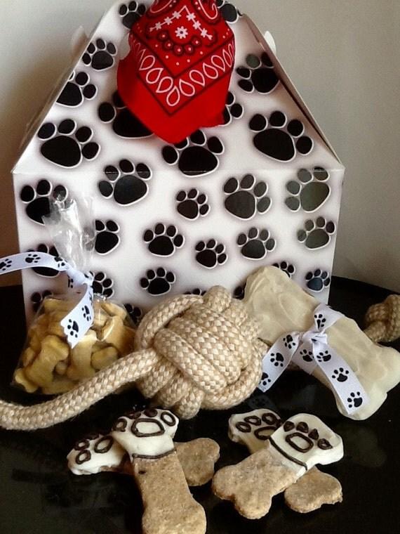 Etsy Dog Gift Baskets : Dog treats paw print gift basket by dogbonesboutique