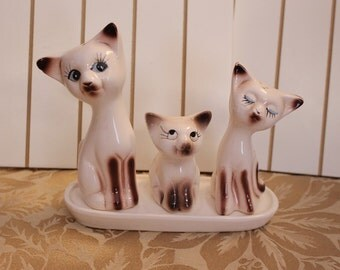 Vintage Siamese Cat Salt and Pepper Shaker and Toothpick Holder with Stand