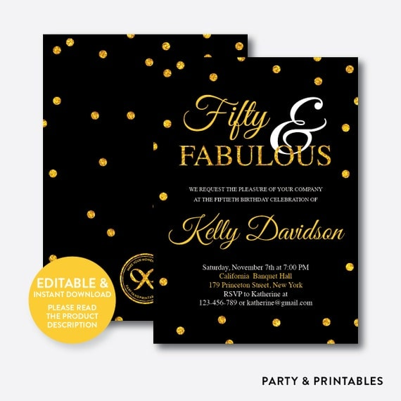 50 And Fabulous Text: Instant Download Editable Fifty And Fabulous Birthday By