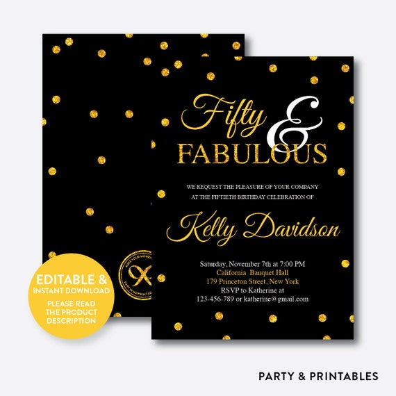 50 Fabulous Graphic: Instant Download Editable Fifty And Fabulous Birthday By