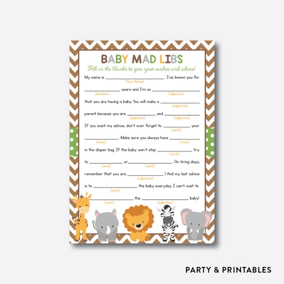 Instant Download Safari Baby Mad Libs Baby Advice Cards Safari