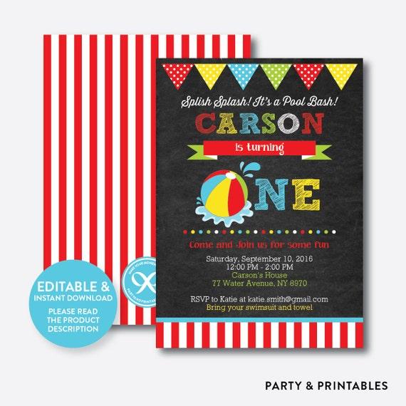 instant download editable one birthday invitation 1st birthday
