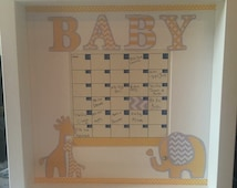 Baby Shower game, guess birth date makes lovely keepsake for nursery make in pink bue yellow