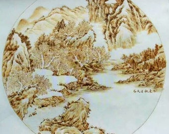 "OOAK Original chinese rice paper pyrography, Home decoration  - Mountains and rivers - Size: 14.1"" X14.1"" Inches (36 cm x 36 cm)"