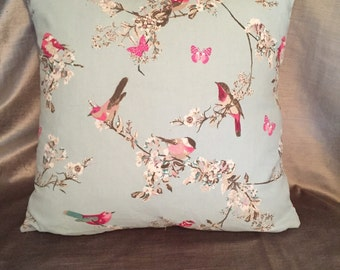 "Beautiful Birds 16"" cushion with luxury feather insert included"