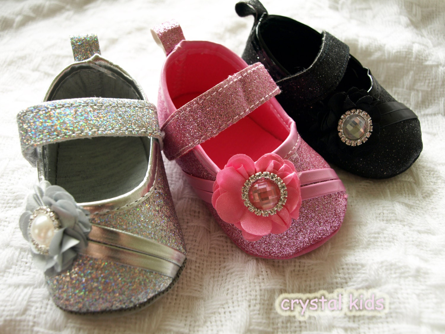 Unique Baby Girls Shoes Reborn Sparkly Glitter by