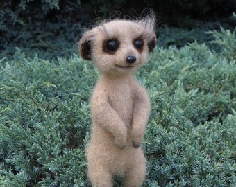 Meerkat.Needle Felted Meerkat. Suricate.Needle Felted Animal.Soft Sculpture.Wool Meerkat . Ready to Ship.