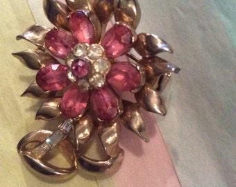 Vintage Coro pink flower Brooch 1960's