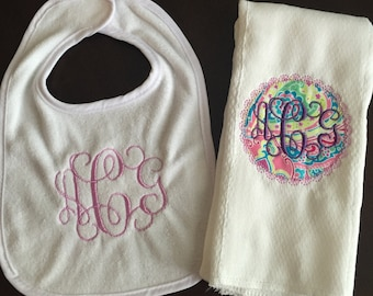 Personalized Bib and Burp Cloth Set