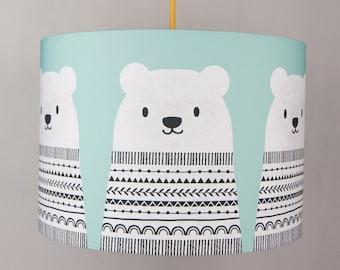 Scandinavian bear lampshade in blue, 30 cm diameter drum lampshade
