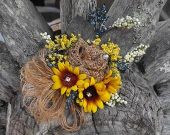 Burlap and Sunflower Corsage,Bridal Corsage, Prom Corsage, Rustic Wedding Flower Corsage, Sunflower Wedding