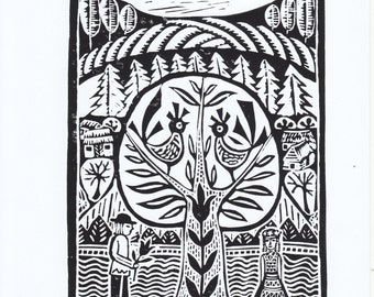 "Original Linoleum Printmaking ""The Morning"" by Lithuanian folk artist Odeta Brazeniene"