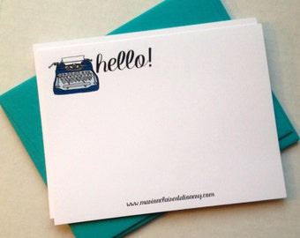 Antique Typewriter Notecards - Hello Notecards - Just Because Notecards