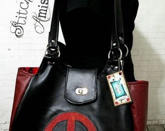 Deadpool purse, deadpool bag, large purse, black and red shoulder bag made to order