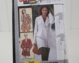 Long Loose Fitting Lapel Collar Jacket Pattern, Uncut Sewing Pattern, Buurda 2946, Size 10-20