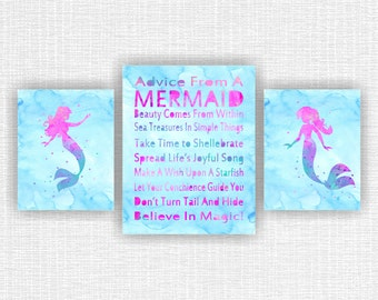 INSTANT DOWNLOAD Ariel Watercolor silhouette, Advice from a Mermaid nursery printable, Quote Mermaid Wall Art Set of 3, 8x10-2 and 11x14-1