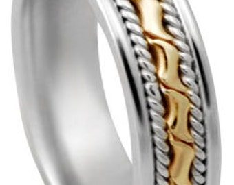 hand braided weeding  band 14 kt 6 mm
