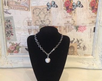 White gold finished necklace with diamante drop detail
