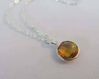 Citrine Necklace in Sterling Silver, Minimalist Jewelry, November Birthstone, Layering Necklace, Citrine Jewelry, Yellow Necklace, Citrine