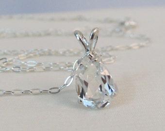 Brazil White Topaz Pendant, Topaz Pear Gemstone, Topaz Necklace, Sterling Silver, Topaz Jewelry, Diamond Alternative, April Birthstone