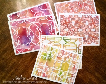 Sunrise Sunset Patterns - Pack of Six Blank A2 Notecards - Watercolor Art Prints
